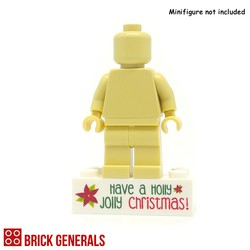 Minifig Printed Brick Base - Holly Jolly