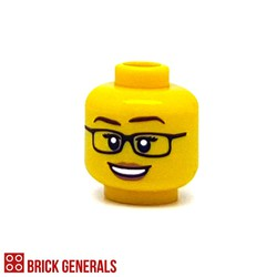 Minifig Accessory Head F13 - Specs with Peach Lips