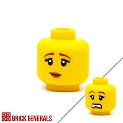 Minifig Accessory Head F14 - Pensive Smile-Scared Face