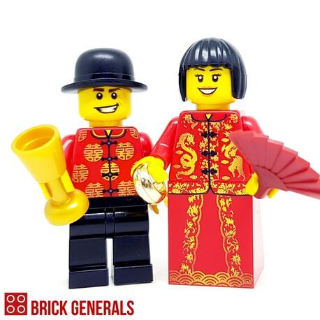 Custom Lego Minifig Chinese Wedding Couple