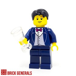 Custom Minifig Groom (Dark Blue)